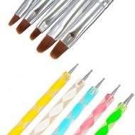 Acryl Penselen met druppelpen (5 kleuren)
